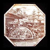 RARE Advertising Tile ~  Ceylon Tea 1888