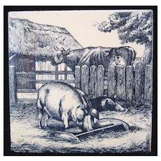 William Wise Farm Animals ~ Pigs ~ Cow ~Minton Tile 1879