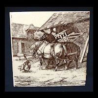 Signed Wm Wise Minton Tile ~ Farm Horses 1879