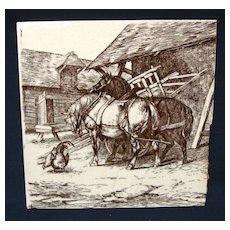 Signed Wm Wise Minton Tile ~ Farm Horses 1879