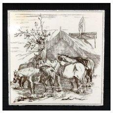 Victorian Brown Transferware Tile ~ HORSES 1885
