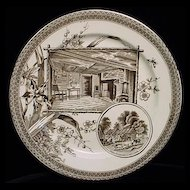 Aesthetic Movement Brown Transferware Plate ~ SHAKESPEARE 1884