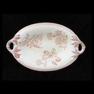 Wedgwood BOTANICAL Creamware Transferware Pickle Dish ~ 1878