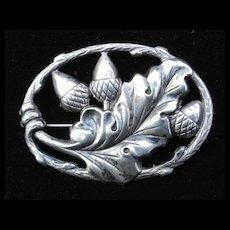 Sterling Silver Acorn Brooch