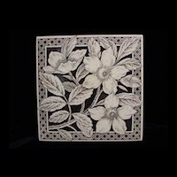 Brown Aesthetic Transferware Tile ~ WILD ROSES 1885