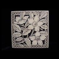 Brown Aesthetic Transferware Tile ~ WILD ROSES 1885