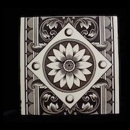 Brown Aesthetic Transferware Tile ~ SUNFLOWER 1885