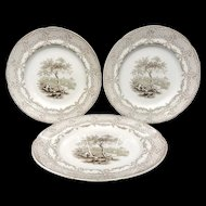 Trio of Victorian Romantic Plates ~ Charles Dickens Humphrey's Clock ~ 1838