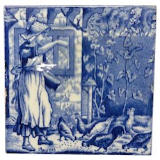 Flow Blue Tile ~ Wedgwood Months ~ AUGUST ~ Feeding Chickens ~ 1879
