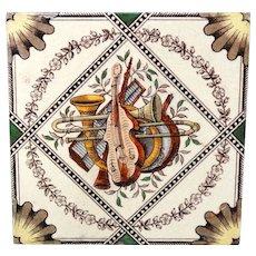Victorian Brown Transferware Tile ~ Musical Instruments 1885