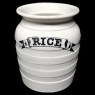 Victorian Ironstone Advertising RICE POT ~ 1880