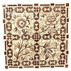 Superb Aesthetic Movement Tile ~ Sunflowers ~ 1885