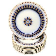 8 ~ Antique Victorian Flow Blue Plates ~ CYPRUS 1850
