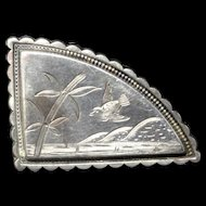 Victorian Antique Sterling Silver Collar Pin 1885