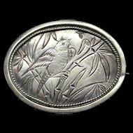 Victorian Antique Sterling Silver Sweetheart Bird Brooch Pin ~ 1885