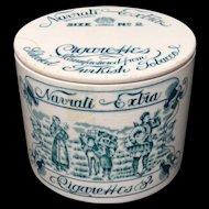 Rare Ceramic Navrati Extra Tobacco Box ~ c.1890