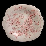 Aesthetic Red Transferware Cake Plate - Melrose 1884