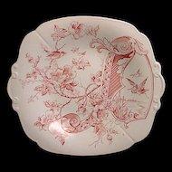 Aesthetic Red Transferware Cake Plate - Melrose 1884