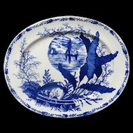 Superb Ironstone Flow Blue Platter ~ OCEANIC & SEA SHELLS 1882