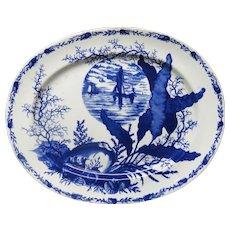 Superb Ironstone Flow Blue Platter ~ OCEANIC & SEA SHELLS 1882