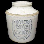 Massive Stoneware Advertising Horse Shoe Snuff ~ 1905