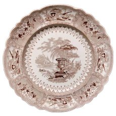 Brown Staffordshire Transferware Plate ~ CANOVA ~ 1840