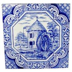 Aesthetic Movement Tile  Aesop Fable ~ Water Wheel 1870
