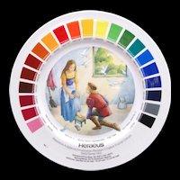 Vintage Artist Paint Color Salesman Sample Pottery Plate Staffordshire c1960