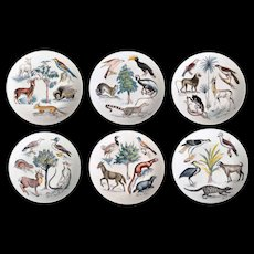 6pc Limoges Dessert Set EARTHLY PARADISE France c1950
