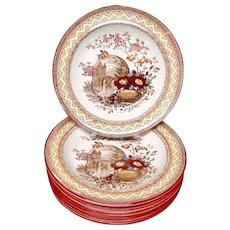 EIGHT Antique Aesthetic Brown Transferware Rice Porridge Plates ~ Edinburg 1882