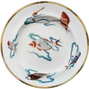 Antique Royal Worcester Polychrome Plate ~ Rare Fish 1877