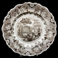 Antique Brown Staffordshire Plate ~ Parisian Chateau 1830