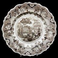 Antique Brown Staffordshire Plate ~ Parisian Chateau 1830