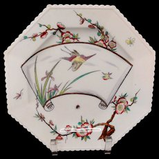 Antique Aesthetic Movement Plate ~ Bugs ~ Bees~ Dragonfly ~ EGRET 1879