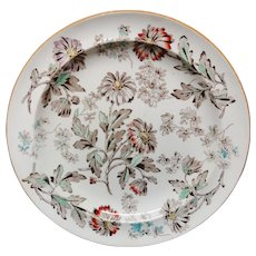 Wedgwood Aesthetic Movement Plate ~ Brown Transfer DAISIES ~ 1880