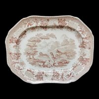 Ass, Lion, and Cock Staffordshire Brown Platter ~ Aesop's Fables 1835