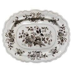Large Staffordshire Brown Transferware Romantic Platter ~ FRUIT GARDEN 1830