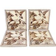 Four Aesthetic Movement Tiles ~ BIRDS 1880