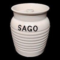 Edwardian White Banded Kitchen Storage Jar ~ Sago ~ c 1920