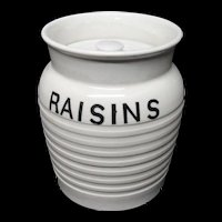 Edwardian White Banded Kitchen Storage Jar ~ RAISINS ~ c 1920