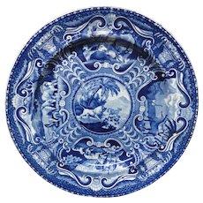 Large John Hall Staffordshire QUADRUPEDS Plate ~ LION 1825