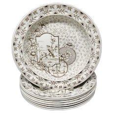 Eight ~ Antique Victorian Brown Transferware Soup Plates ~ DEVONSHIRE 1885