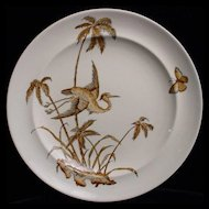 Exotic Brown Transferware Plate ~ Palms + Egret 1879
