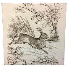 1876 ~ Large 8 Inch Wedgwood Game Subjects Tile ~ RABBIT 1876