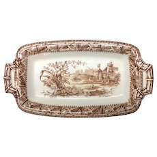 1882 ~ Victorian Brown Transfer Printed English Staffordshire Butter Server