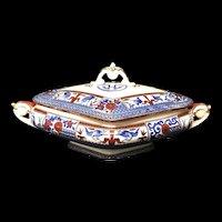 1880 ~ Antique Victorian English Polychrome Tureen ~ KIOTO 1880