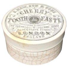 Quack Medicine Victorian Areca Nut Indian CHERRY Tooth Paste Pot 1885