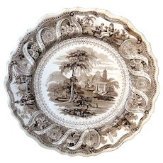 Historical Staffordshire Moral Maxims Dinner Plate Clews 1830