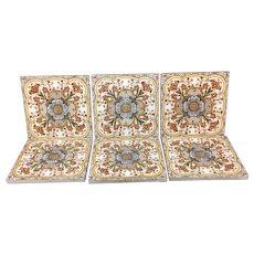 SIX ~ Superb Polychrome Tiles ~ Cosmos & Trumpet Jasmine Flowers ~ 1885