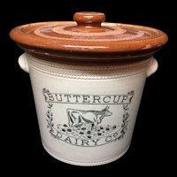 1920 ~ Pictorial Large 5 Pound Buttercup Dairy Crock with Rare Lid